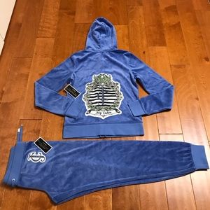 Juicy Couture logo velour hoodie and pant M